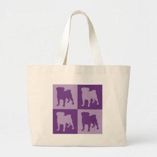 Purple Puggy Tote Bags