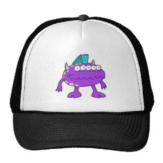 purple punk mohawk monster many eyes trucker hats