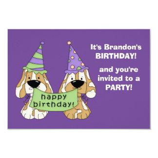 Purple Puppies Kids Birthday Party 9 Cm X 13 Cm Invitation Card