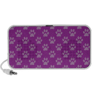 Purple puppy paws pattern portable speakers