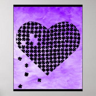 Purple Puzzle Heart Poster