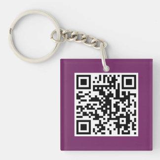 Purple QR CODE Custom Key Chain