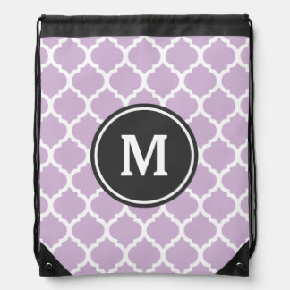 Purple Quatrefoil Monogram Drawstring Bag