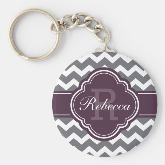 Purple Quatrefoil Monogram Grey Chevron Pattern Basic Round Button Key Ring