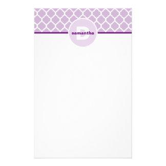 Purple Quatrefoil Monogram Stationery