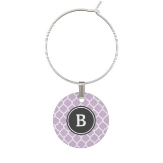 Purple Quatrefoil Monogram Wine Charm