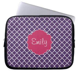 Purple Quatrefoil Pattern Laptop Sleeve