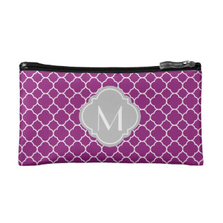 Purple Quatrefoil Pattern with Monogram Cosmetic Bag