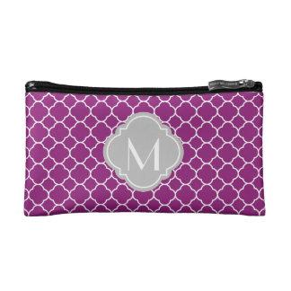 Purple Quatrefoil Pattern with Monogram Makeup Bags