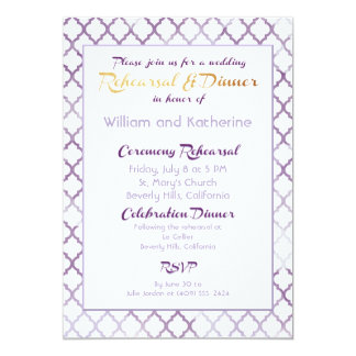Purple Quatrefoil Rehearsal Invitation