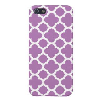 Purple Quatrefoil Trellis Pattern Case For The iPhone 5