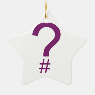 Purple Question Tag/Hash Mark Double-Sided Star Ceramic Christmas Ornament
