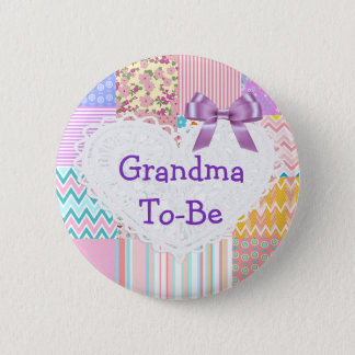 Purple Quilt Grandma to be Baby Shower Button