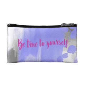 Purple quote makeup bag, small watercolor indigo cosmetic bag