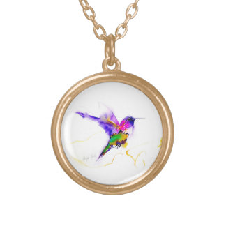 """Purple Radiance"" Hummingbird Print Round Pendant Necklace"
