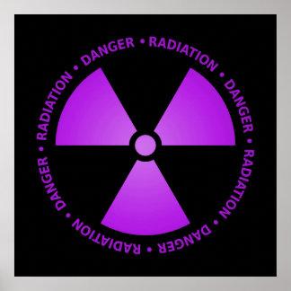Purple Radiation Symbol Poster