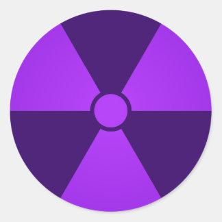 Purple Radiation Symbol Round Sticker