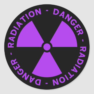 Purple Radiation Warning Sticker
