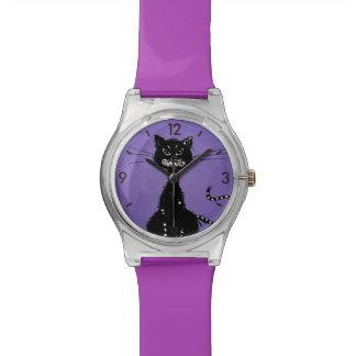 Purple Ragged Evil Black Cat Watches