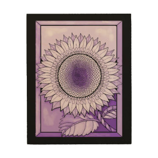 Purple Rain Sunflower Wood Wall Decor