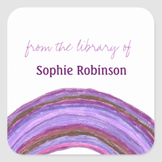 Purple rainbow custom bookplates square sticker