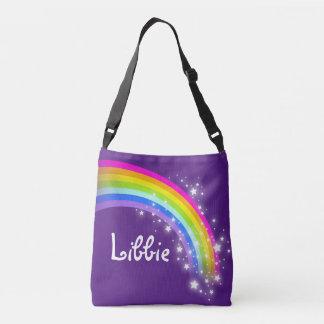 Purple rainbow girls name tote bag