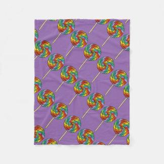 Purple Rainbow Lollipop Lollipops Candy Blanket