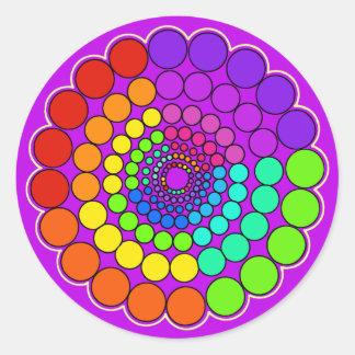 Purple - Rainbow Spectrum Mandala Classic Round Sticker