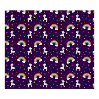 Purple rainbow unicorn hearts stars pattern print