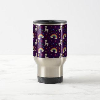 Purple rainbow unicorn hearts stars pattern stainless steel travel mug