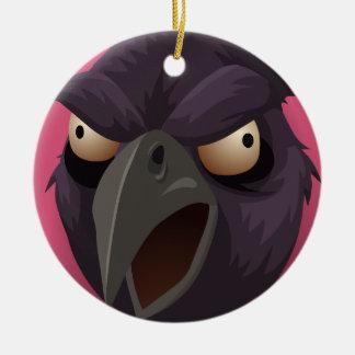 Purple Raven's head Round Ceramic Decoration