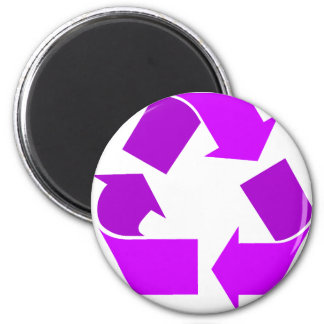Purple Recycle 6 Cm Round Magnet
