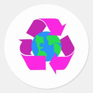 Purple Recycle Round Sticker