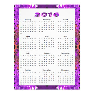 Purple Red Abstract 2016 Calendar 21.5 Cm X 28 Cm Flyer