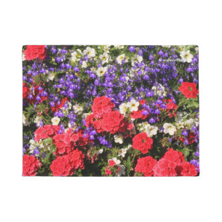 Purple, Red, and White Annual Flowers Doormat
