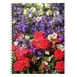 Purple, Red, and White Annual Flowers Spiral Note Books