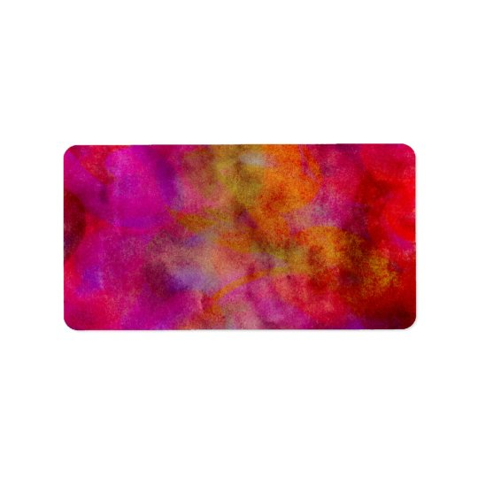 Purple Red Colourful Watercolor Abstract Address Label