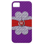 Purple & Red Glitter, Diamond Flower Monogram iPhone 5 Case