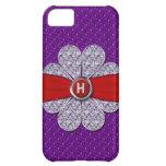 Purple & Red Glitter, Diamond Flower Monogram Cover For iPhone 5C