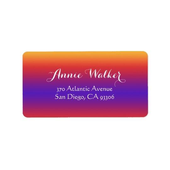 Purple Red Orange Gradient Stripes Address Label
