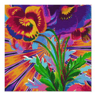 Purple & Red Pansies 13 Cm X 13 Cm Square Invitation Card