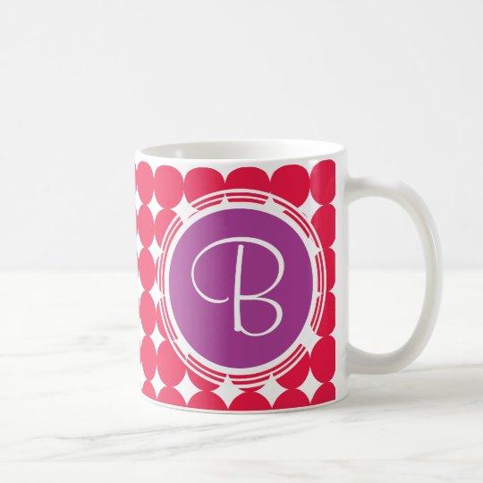 Purple & Red Polka Dot Monogram Coffee Mug