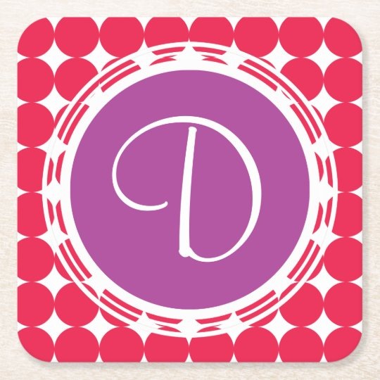 Purple & Red Polka Dot Monogram Square Paper Coaster