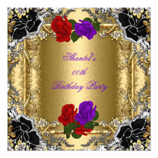 Purple Red Rose Gold Black Silver Birthday Party Personalized