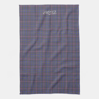 Purple Red Tan Scottish Tartan Plaid Monogram Kitchen Towel
