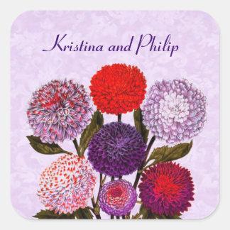 Purple Red Vintage Flowers Wedding Monogram D581 Square Sticker