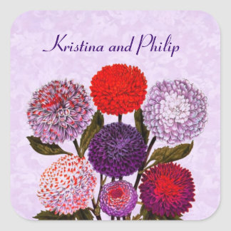 Purple Red Vintage Flowers Wedding Monogram D581 Square Stickers