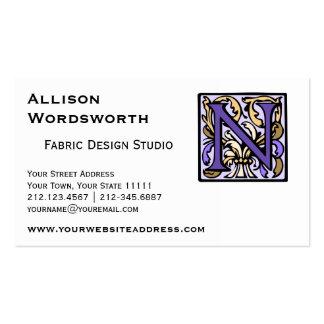 Purple Renaissance Illuminated Manuscript N Pack Of Standard Business Cards
