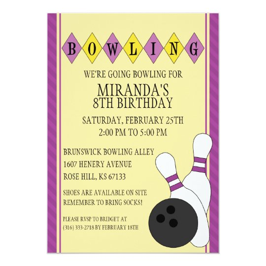 Purple Retro Custom Bowling Birthday Party Card