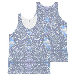 Purple retro floral pattern All-Over print tank top
